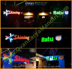 Letter sign huruf timbul Acrylic led - Logo Shining KWB Alun alun Batu - Prod. OvanKaryaMandiri Advertising Malang
