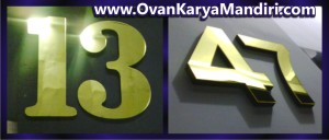 Nomor Rumah acrylic mirror gold - OvanKaryaMandiri Advertising di Tlogomas malang